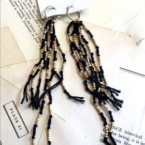 Free People Hanging Earrings black Beaded Fringe